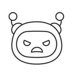 Angry robot emoji linear icon vector