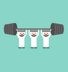Arab businessman team help each others for weight vector