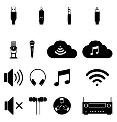 Audio and visual icons on white background vector