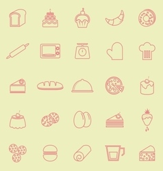 Bakery line color icons on yellow background vector image