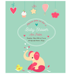 bashower cute invitation and with elephant and vector image