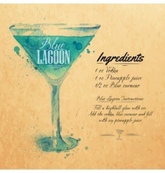 Blue lagoon cocktails watercolor kraft vector