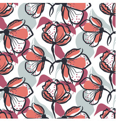 bold hand drawn flower seamless pattern in vector image