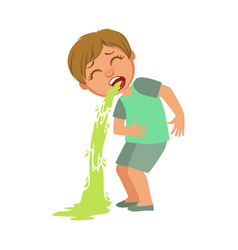Boy vomitingsick kid feeling unwell because of vector