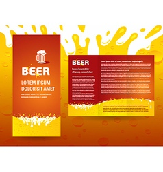 brochure beer splash vector image