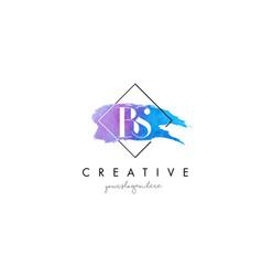 Bs artistic watercolor letter brush logo vector