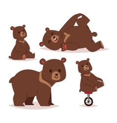 Cartoon bear set vector image