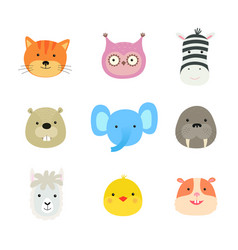 cartoon cute animals for bacard and invitation vector image