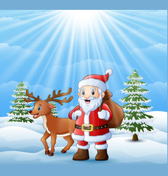 Cartoon santa claus and deer standing in the snow vector