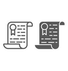 Certificate line and glyph icon diploma and award vector