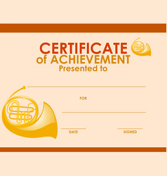 Certificate template with french horn vector