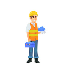 Cheerful constructor with blueprints vector