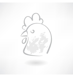 Chicken head grunge icon vector image