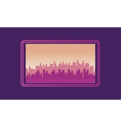 City scenery silhouettes on purple backgrounds vector