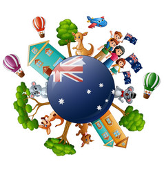 City with world concept on australia day vector