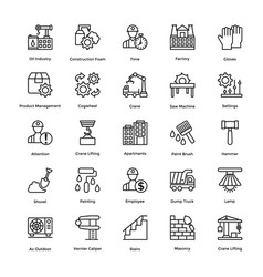 Collection industrial and construction line ic vector