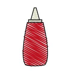 Color crayon stripe cartoon red jar with tomato vector