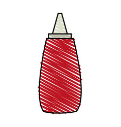 color crayon stripe cartoon red jar with tomato vector image
