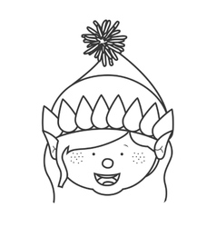 Contour with gnome girl head vector