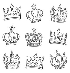 Crown various style doodle set vector
