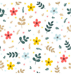 cute floral seamless pattern with leaves branches vector image