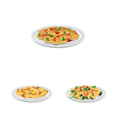 Design of pasta and carbohydrate logo set vector