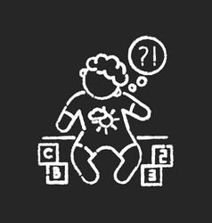 Developmental delay chalk white icon on black vector