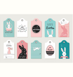 easter tag collection with bunnies and eggs vector image