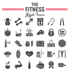 fitness glyph icon set sport symbols collection vector image