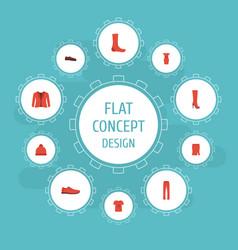 Flat icons gumshoes man footwear hosiery and vector