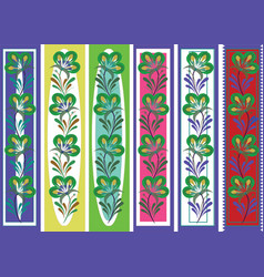Floral ornamental bookmark folk petrykiva style vector
