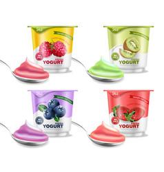 Fruits yogurt set realistic berry vector