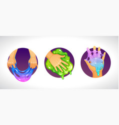Funny colorful homemade slime holding in hand vector