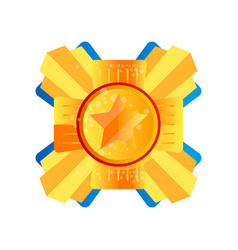 golden trophy award with star vector image