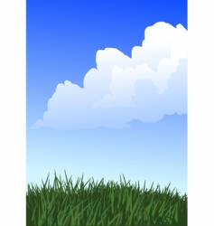 grass and white clouds vector image vector image