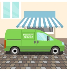 Green delivery van vector