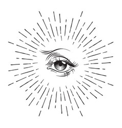 Hand-drawn eye providence masonic symbol vector