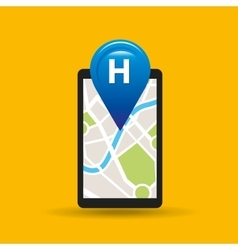 Hand holds phone navigation app hotel vector