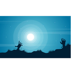 hand zombie scenery halloween background vector image