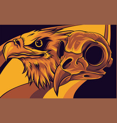 Head an eagle and skull vector