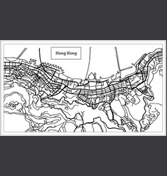 hong hong china city map in black and white color vector image