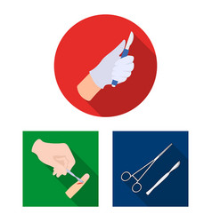 isolated object of scalpel and medical icon set vector image