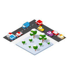 Isometric crossroads intersection streets vector