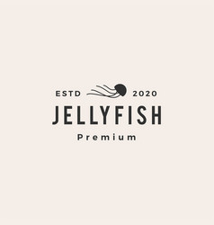 Jelly fish hipster vintage logo icon vector