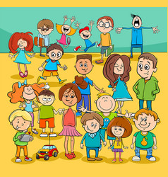 Kids and teenagers cartoon characters group vector