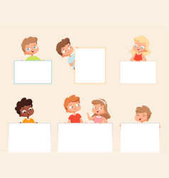 kids holding banner empty posters or frames vector image