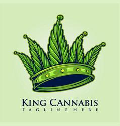 king kush cannabis crown logo vector image