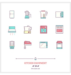 Kitchen Equipment Line Icons Set vector image