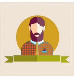 Male avatars in flat style Bearded man vector image vector image