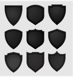 metal shield with dark black geometric grid vector image